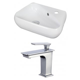 19-in. W x 11-in. D Unique Vessel Set In White Color With Single Hole CUPC Faucet