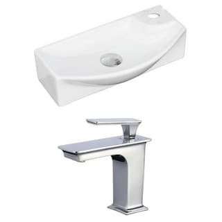 18-in. W x 9-in. D Rectangle Vessel Set In White Color With Single Hole CUPC Faucet