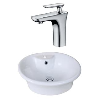 19-in. W x 15-in. D Round Vessel Set In White Color With Single Hole CUPC Faucet