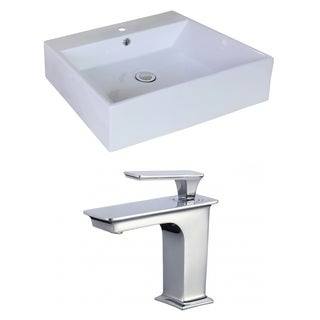 20.08-in. W x 16.54-in. D Rectangle Vessel Set In White Color With Single Hole CUPC Faucet