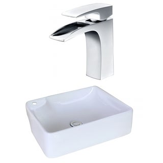 17.32-in. W x 13.39-in. D Rectangle Vessel Set In White Color With Single Hole CUPC Faucet