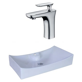 26-in. W x 15.35-in. D Rectangle Vessel Set In White Color With Single Hole CUPC Faucet