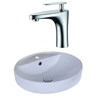 18.1-in. W x 18.1-in. D Round Vessel Set In White Color With Single Hole CUPC Faucet