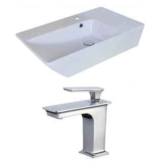 25-in. W x 15-in. D Rectangle Vessel Set In White Color With Single Hole CUPC Faucet
