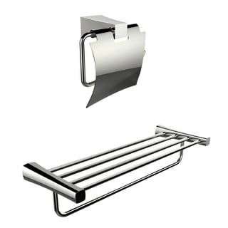 Multi-Rod Towel Rack With A Chrome Plated Toilet Paper Holder Accessory Set