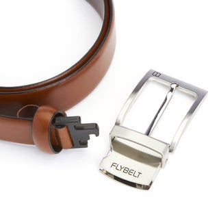 Royce Leather Men's Airport Security-friendly Genuine Leather Belt With Detachable Chrome Buckle (Waist Size 51)