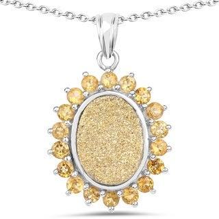 Malaika .925 Sterling Silver 7.70-carat Genuine Drusy and Citrine Pendant