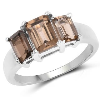 Malaika 0.925 Sterling Silver 1.97-carat Genuine Smoky Quartz Ring