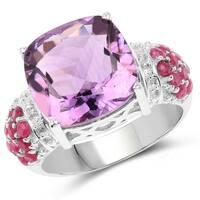 Malaika .925 Sterling Silver Ruby/Purple/White 6.55ct Genuine Amethyst and Topaz Ring