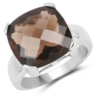 Malaika .925 Sterling Silver 12.10 Carat Genuine Smoky Quartz Ring