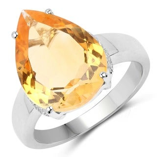 Malaika 8.05 Carat Genuine Golden Citrine .925 Sterling Silver Ring