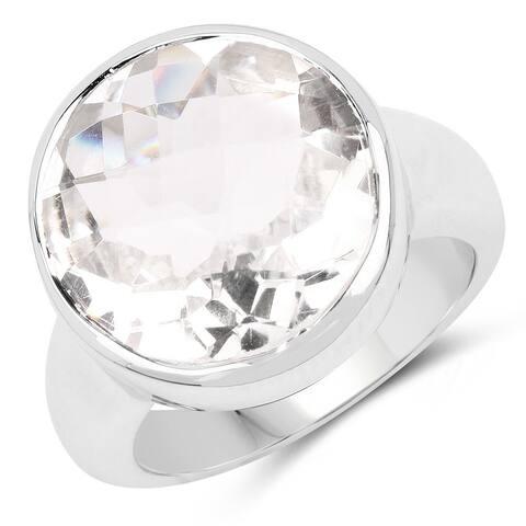 Malaika .925 Sterling Silver 10.25k Genuine Crystal Quartz Ring