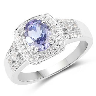 Malaika 0.925 Sterling Silver 1.42-carat Tanzanite and White Topaz Ring