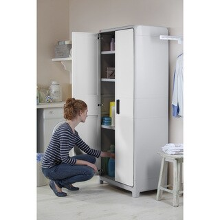 Keter Optima Wonder White and Grey Plastic Freestanding Utility Cabinet