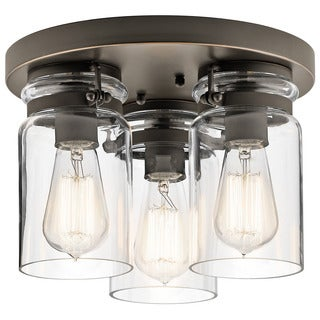 Kichler Lighting Brinley Collection 3-light Olde Bronze Flush Mount