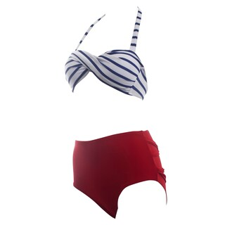 Zodaca Women Black/ White Striped Halter Padded Twisted Bandeau Bikini Top with Matching Red Bottom Summer Swimsuit