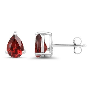 Malaika .925 Sterling Silver 1.68-carat Genuine Garnet Earrings