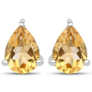 Malaika .925 Sterling Silver 1.31-carat Genuine Citrine Earrings