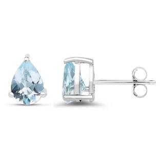 Malaika .925 White Sterling Silver 1.64k Genuine Blue Topaz Earrings