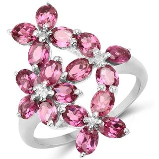 Malaika .925 Sterling Silver 3.57-carat Genuine Rhodolite Ring