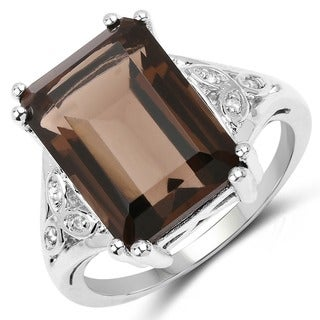 Malaika .925 Sterling Silver 7.14-carat Genuine Smoky Quartz and White Topaz Ring