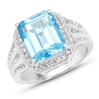 Malaika .925 Sterling Silver 5.97-carat Genuine Swiss Blue and White Topaz Ring