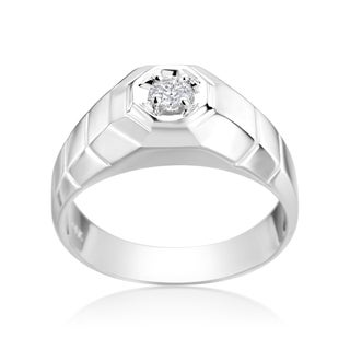 SummerRose Men's 14k White Gold 1/6-carat TDW
