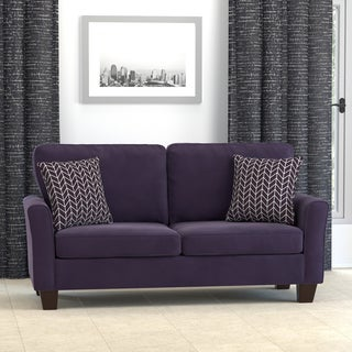 Handy Living Redmond Plum Purple Velvet SoFast Compact Sofa