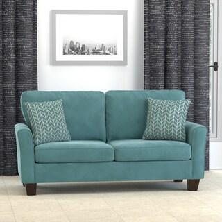 Handy Living Redmond Turquoise Blue Velvet SoFast Compact Sofa