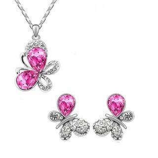 Austrian Crystal Butterfly Silver Earring and Necklace Set