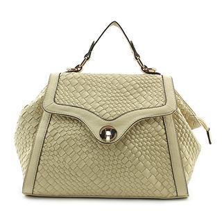 Urban Expressions Women's Madison Beige Faux Leather Satchel Handbag