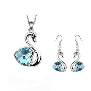 Austrian Crystal Swan Silver Earring and Necklace Set