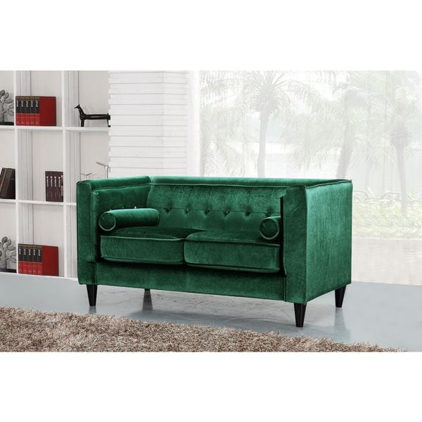 Meridian Taylor Green Velvet Loveseat Free Shipping Today