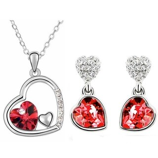 Silver Crystal Double Heart Dangle Earrings Pendant Necklace Set