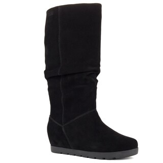 Cougar Women's Array Tan or Black Suede High Shaft Pull-on Waterproof Boot