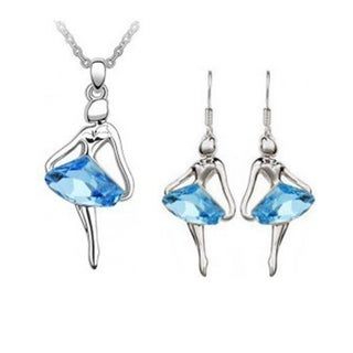 Austrian Crystal Blue Ballerina Silver Earring and Necklace Set