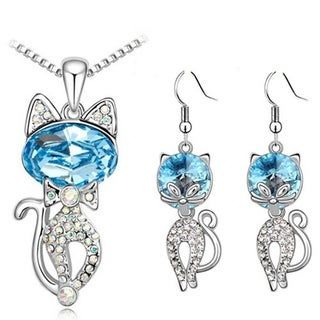 Silver Blue Clear Crystals Cat Dangle Earrings and Necklace Set