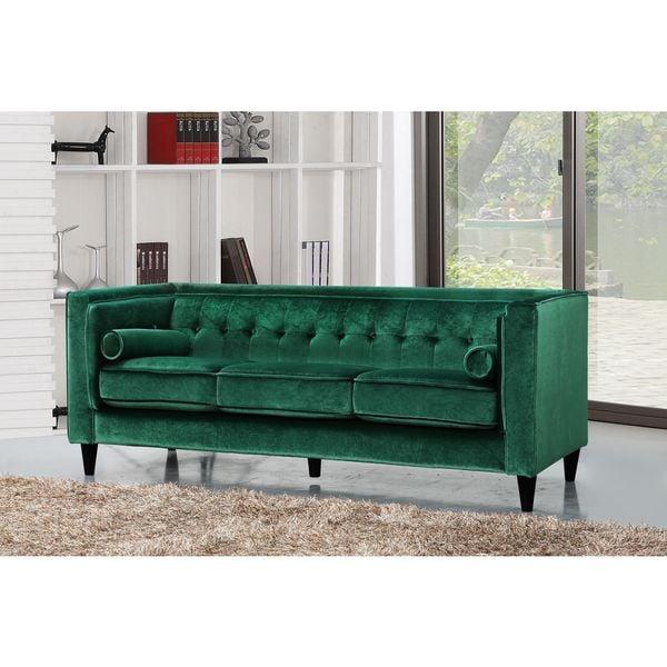shop meridian taylor green velvet sofa free shipping. Black Bedroom Furniture Sets. Home Design Ideas