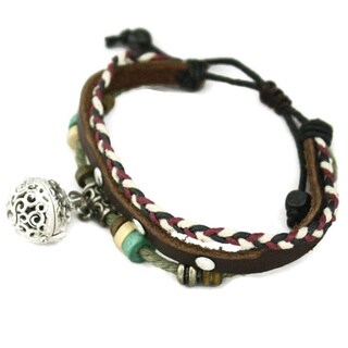 """Simplicity"" Wood Bead Essential Oil Diffuser Bracelet- Brown Leather"