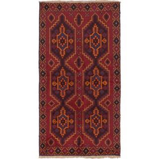eCarpetGallery Red/Brown/Blue/Orange Wool Geometric Hand-knotted Kazak Rug (3'5 x 6'4)