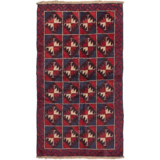 eCarpetGallery Bahor Blue/Red Wool Hand-knotted Rug (3'6 x 6'3)
