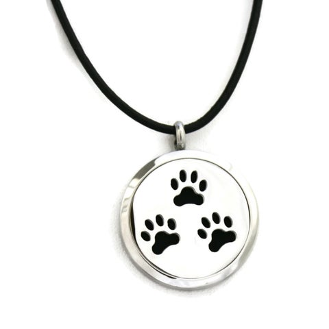 Paw Prints Essential Oil Diffuser 316L Stainless Steel 20-inch Necklace