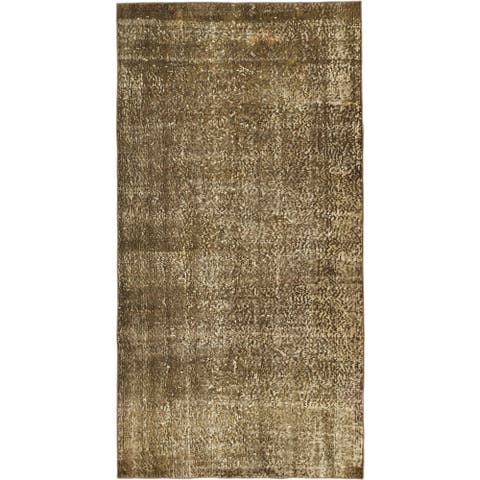 Hand-knotted Color Transition Olive Wool Rug