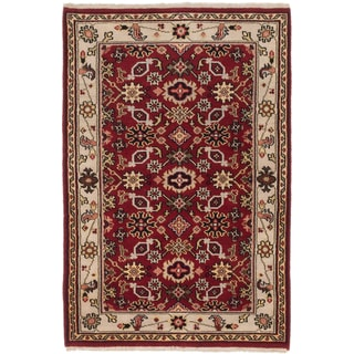 eCarpetGallery Royal Heriz Orange and Black Cotton and Wool Hand-knotted Rug (4' x 5'11)