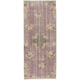 Ecarpetgallery Melis Pink/Black Cotton/Wool Vintage Hand-knotted Rug (3'0 x 7'3)