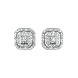 925 Sterling Silver 1/8ct T.W. Diamond Composite Princess-quad Stud Earring (I-J, I2-I3)