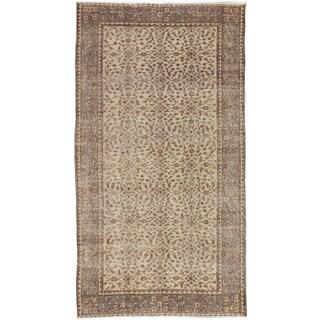 eCarpetGallery Cream/Brown/Black Cotton, Wool Hand-knotted Keisari Vintage Rug (3'9 x 6'10)