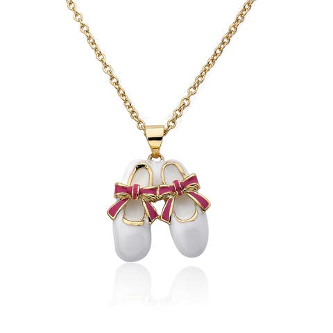 Riccova Molly Glitz Brass Little Miss Twin Stars Ballet Shoe Necklace