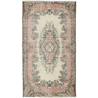 Ecarpetgallery Anatolian Ivory/Pink Cotton/Wool Vintage Hand-knotted Rug (3'11 x 7'0)