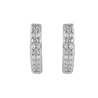 925 Sterling Silver 1/10ct T.W. Diamond Hoop Earring (I-J, I2-I3)